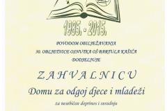 Zahvalnica Domu Zadar - prikaz zahvalnice